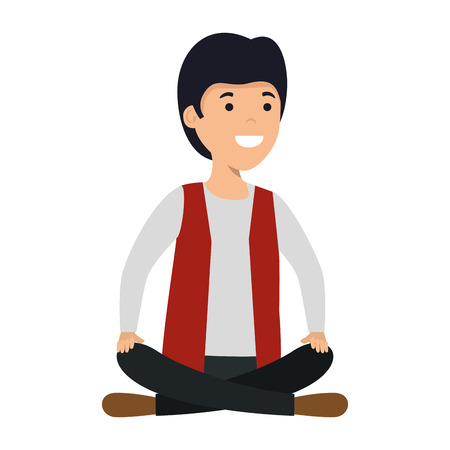 young and casual man with lotus position vector illustration design Foto de archivo - 122036924
