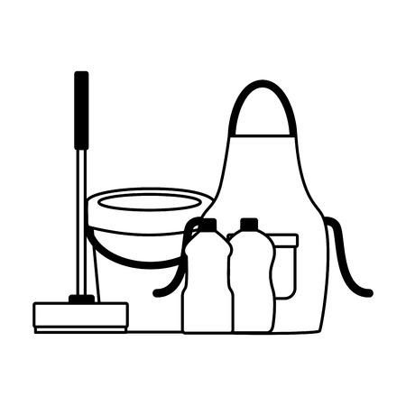 Delantal de cubo escoba botellas escobilla de goma herramientas de limpieza de primavera ilustración vectorial Ilustración de vector