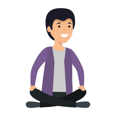 young and casual man with lotus position vector illustration design