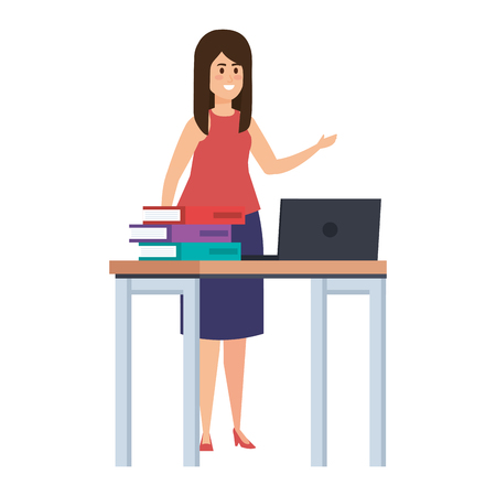 young teacher female in desk with laptop and books vector illustration design
