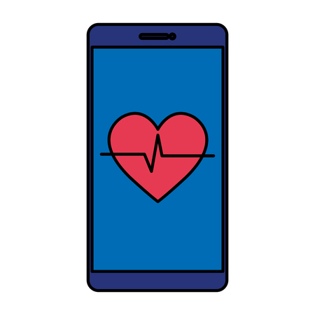 smartphone with heart cardio vector illustration design