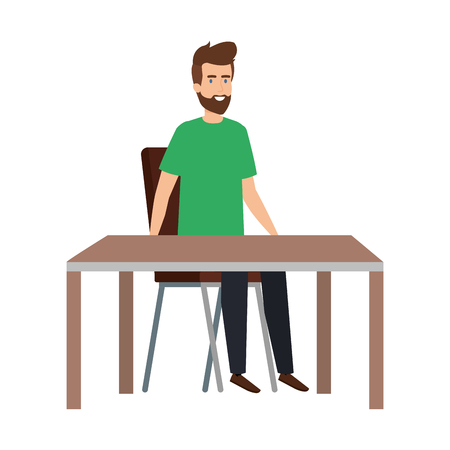 young and casual man sitting in chair with table vector illustration design 向量圖像