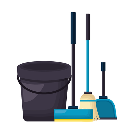bucket mop dustpan spring cleaning tools vector illustration