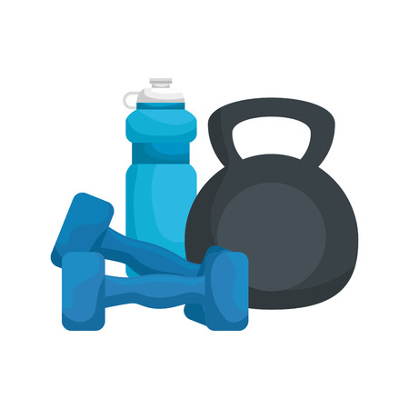 weight lifting dumbbell with water bottle vector illustration design