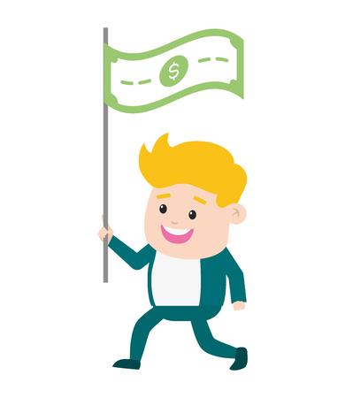 businessman banknote money online payment vector illustration