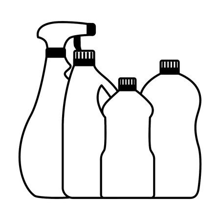 bottles spray spring cleaning tools vector illustration
