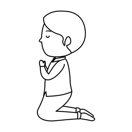 Petit garçon à genoux première conception d'illustration vectorielle de communion