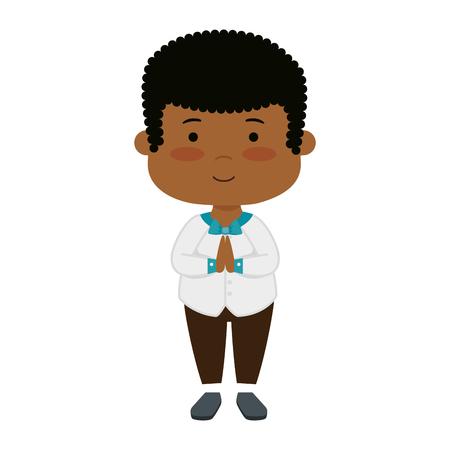 little black boy first communion character vector illustration design Archivio Fotografico - 122037014