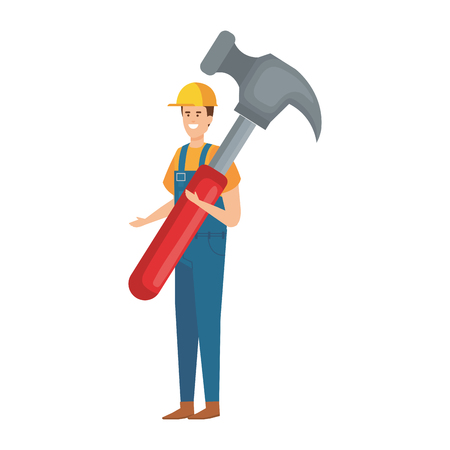 builder worker with helmet and hammer vector illustration design Vectores