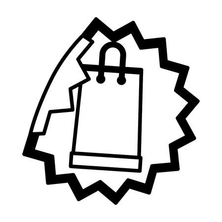 sale banner peel off paper sticker shopping bag vector illustration Ilustracja