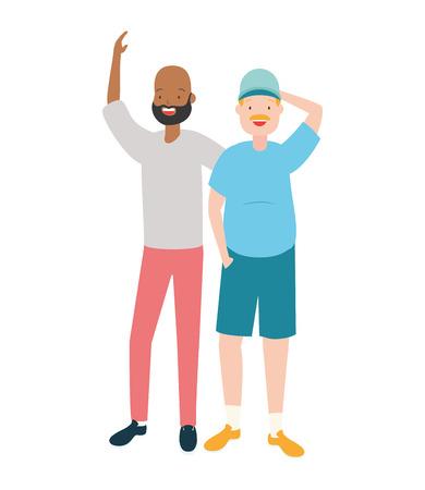 two men diversity characters vector illustration design Banque d'images - 122506937