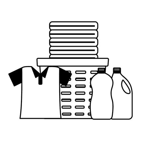 shirt laundry bucket brush spring cleaning tools vector illustration