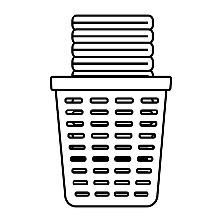 basket clothes laundry spring cleaning tools vector illustration Illustration