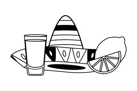 mexican hat tequila shot lime vector illustration 写真素材 - 122507017