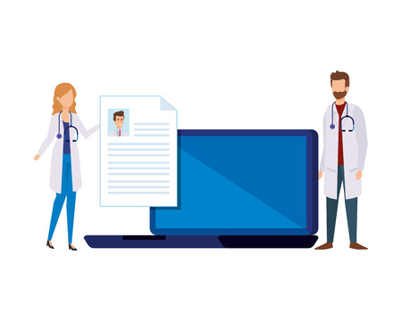 couple of professionals doctors with laptop telemedicine vector illustration design Ilustração