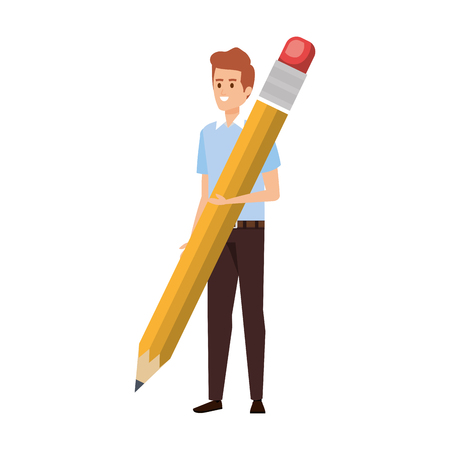 young teacher with pencil character vector illustration design Çizim
