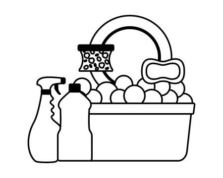 bucket sponge soap spray dish spring cleaning tools vector illustration