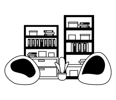 office bookshelf bean chairs furniture vector illustration