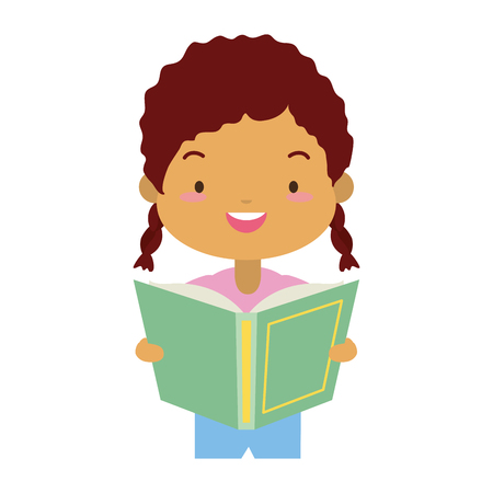 girl holding textbook - world book day vector illustration Banco de Imagens - 122507061