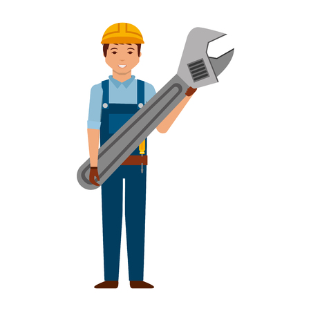 worker man with wrench tool vector illustration