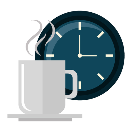 Diseño de ilustración de vector de taza de café de tiempo de reloj Ilustración de vector