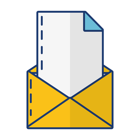 Mensaje de carta de papel de correo sobre fondo blanco ilustración vectorial