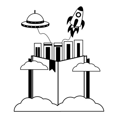 books rocket ufo imagination white background vector illustration