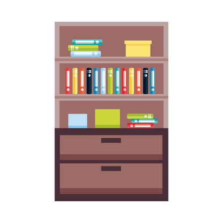 bookshelf furniture books on white background vector illustration