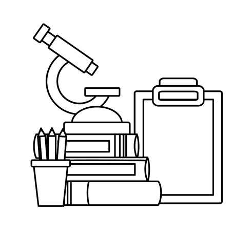 school science microscope books report pencils equipment vector illustration design