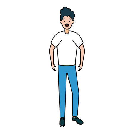 man avatar in casual clothes on white background