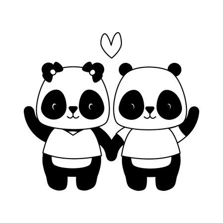 cute couple panda animal cartoon vector illustration design Standard-Bild - 122507117