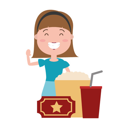 woman with popcorn and tickets avatar character vector illustration desing