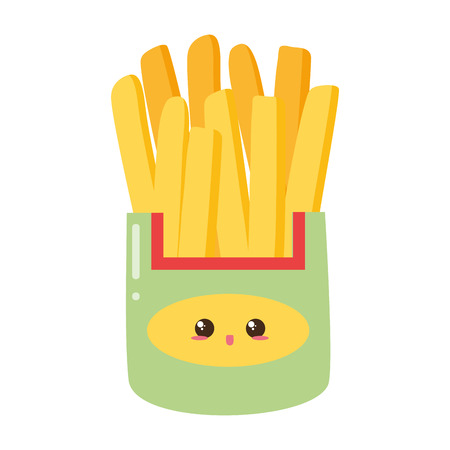 french fries food on white background vector illustration