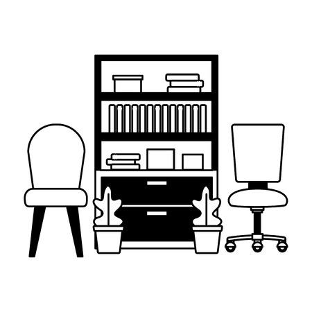 office bookshelf chairs furniture vector illustration design Stock fotó - 122507168