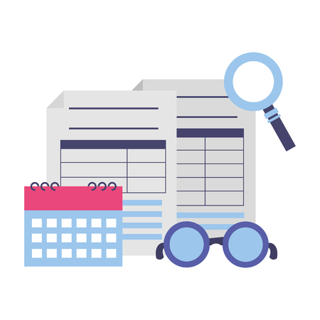 tax payment document calendar magnifier eyeglasses vector illustration Illustration