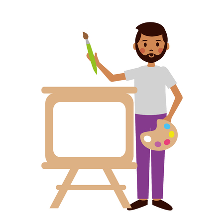 teacher man artistic board and palette teachers day vector illustration 일러스트