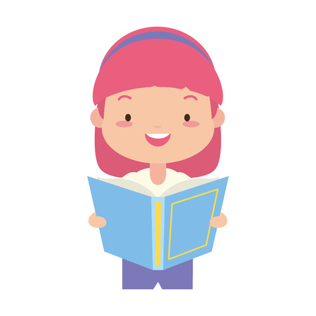 girl holding textbook - world book day vector illustration Banco de Imagens - 122507224