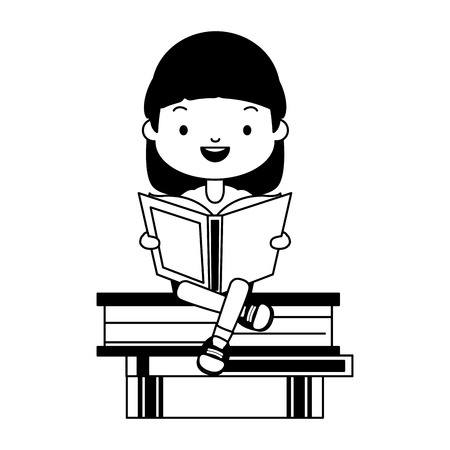 girl sitting books stacked world book day vector illustration Ilustração