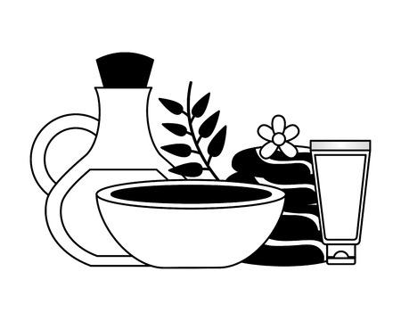 oil bottle tube cream bowl stones spa therapy vector illustration Çizim
