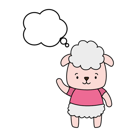 cute sheep cartoon speech bubble vector illustration design
