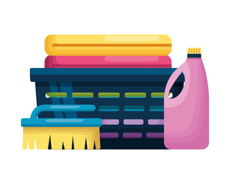 laundry bottle brush spring cleaning tools vector illustration