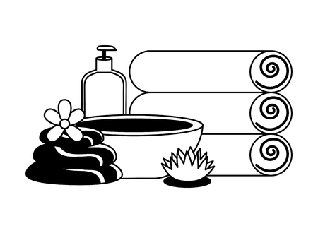 towels bowl gel stones flower spa treatment therapy vector illustration Foto de archivo - 122507268
