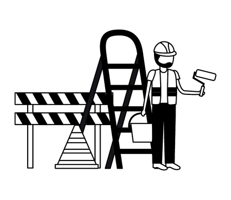 worker roller paint barricade stairs tool construction vector illustration 版權商用圖片 - 122507277