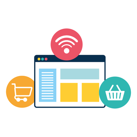 webpage template with ecommerce icons vector illustration design