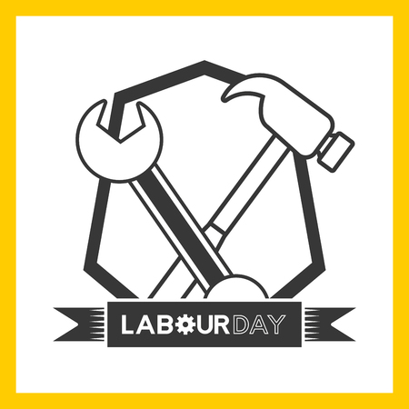 happy labour day hammer wrench label vector illustration