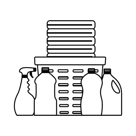 spring cleaning tools laundry detergent vector illustration Illustration