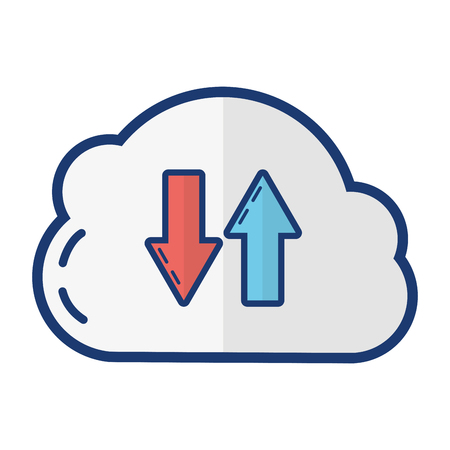 cloud computing storage on white background vector illustration  イラスト・ベクター素材