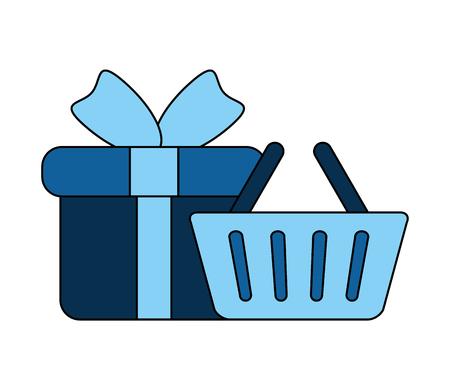 online shopping basket and gift vector illustration