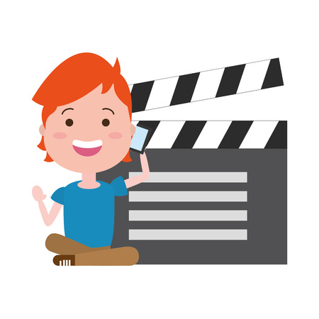 man with clapperboard avatar character vector illustration desing