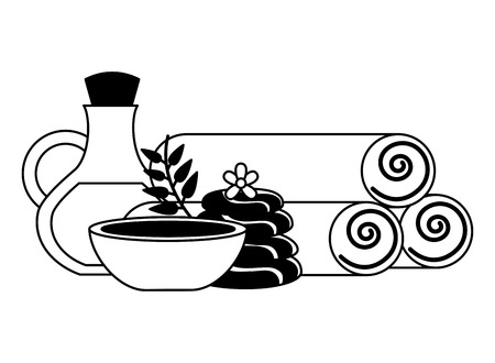 towels stones bowl oil bottle flower spa therapy vector illustration